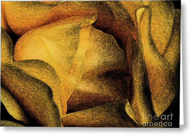 Blossoms Greeting Cards - Rose Yellow Fresco Greeting Card by Jean OKeeffe Macro Abundance Art
