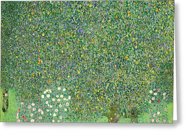 Rosebush Greeting Cards - Rosebushes under the Trees Greeting Card by Gustave Klimt