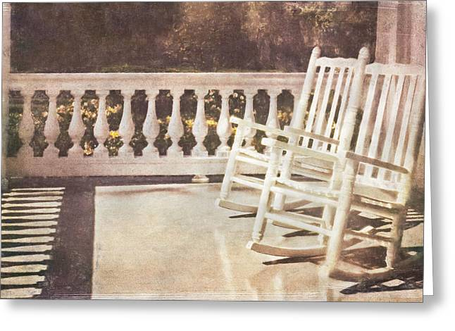 Rocking Chairs Mixed Media Greeting Cards - Afternoon on the Porch Greeting Card by Jonathan Nutt