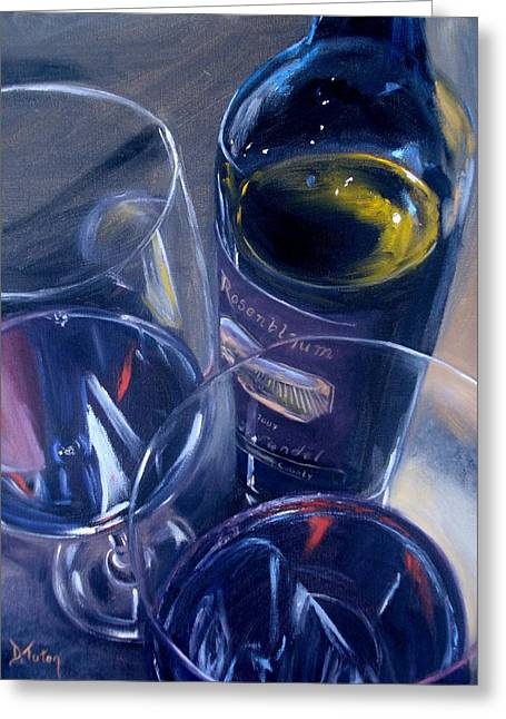 Red Wine Bottle Greeting Cards - Rosenblum and Glasses Greeting Card by Donna Tuten