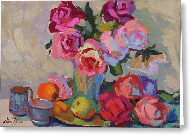 Basket Pot Greeting Cards - Roses and Apples Greeting Card by Diane McClary