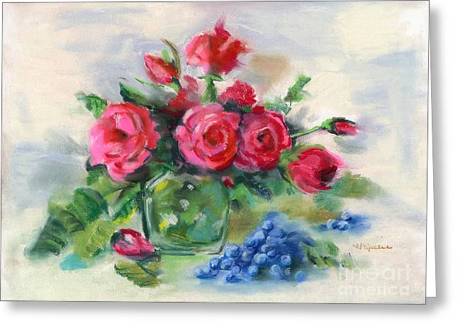 Blueberry Pastels Greeting Cards - Roses and Blueberries Greeting Card by Harry Speese