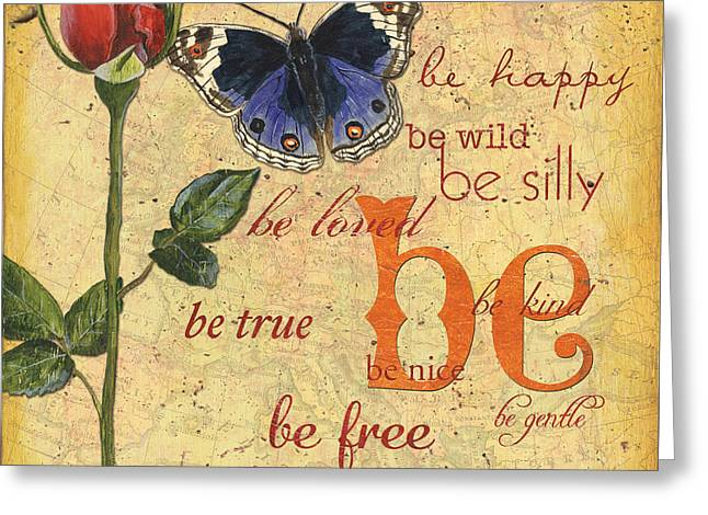 Distressed Greeting Cards - Roses and Butterflies 1 Greeting Card by Debbie DeWitt