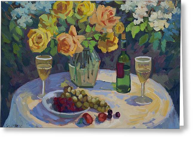 Roses And Chardonnay Greeting Card by Diane McClary
