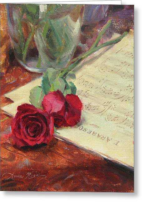 Classical Music Greeting Cards - Roses and Debussy Greeting Card by Anna Rose Bain