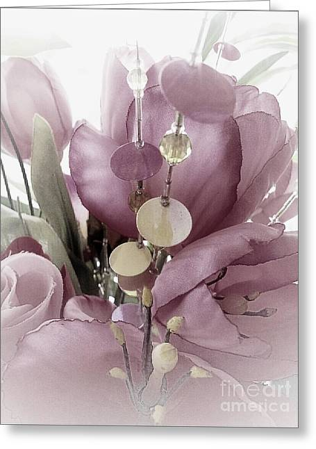 Frizzell Greeting Cards - Roses and Glitz Greeting Card by Michelle Frizzell-Thompson