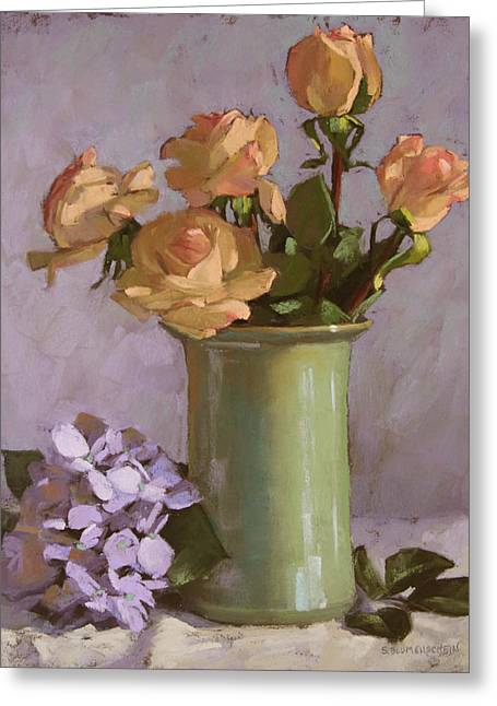 Floral Still Life Pastels Greeting Cards - Roses and Hydrangea Greeting Card by Sarah Blumenschein