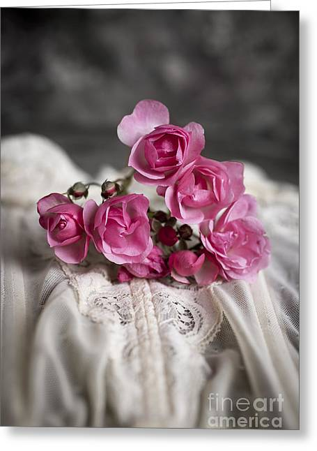 Love Laces Greeting Cards - Roses and Lace Greeting Card by Edward Fielding