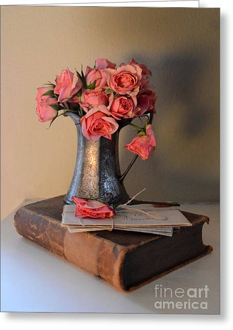 Silver Pitcher Greeting Cards - Roses and Letters on a Vintage Book Greeting Card by Jill Battaglia