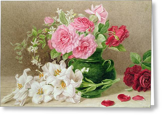 Water Jug Greeting Cards - Roses and Lilies Greeting Card by Mary Elizabeth Duffield
