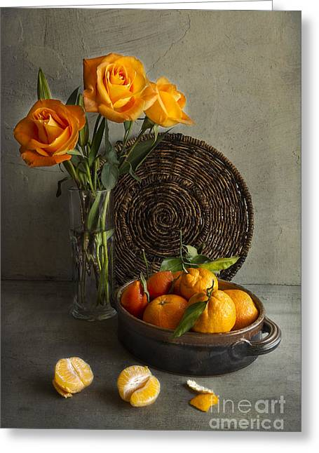 Tabletop Greeting Cards - Roses and Oranges Greeting Card by Elena Nosyreva