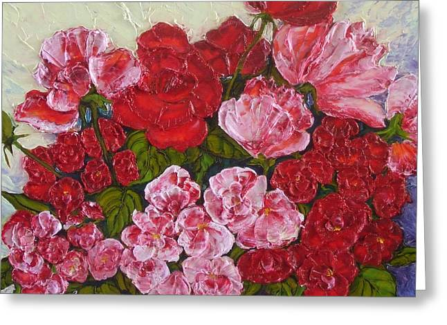 Paris Wyatt Llanso Greeting Cards - Roses and Peonies in a Vase Greeting Card by Paris Wyatt Llanso