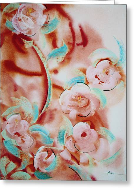 Turquoise And Rust Greeting Cards - Roses and Rust Greeting Card by Asha Carolyn Young