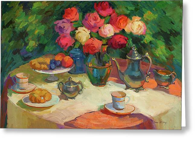 Roses And Tea Greeting Card by Diane McClary
