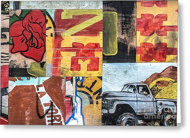Mural Mixed Media Greeting Cards - Roses and Trucks Greeting Card by Terry Rowe