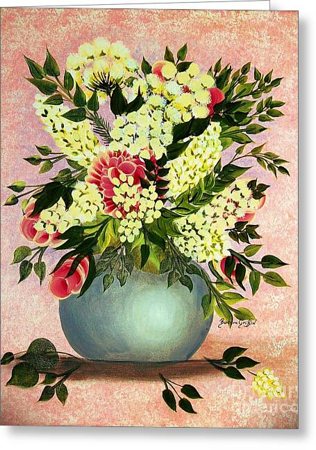 Acrylic Art Greeting Cards - Roses and White Lilacs Greeting Card by Barbara Griffin