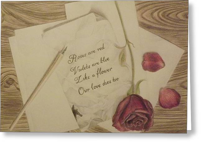 Love Letter Drawings Greeting Cards - Roses Are Red Greeting Card by Jasmine Forbes