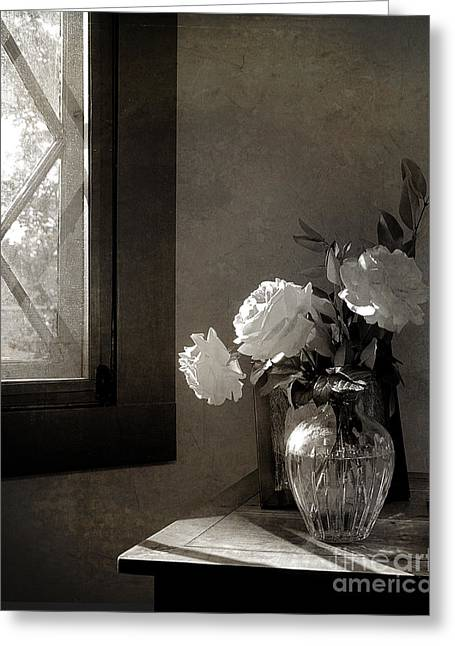 Interior Still Life Photographs Greeting Cards - Roses at the Attic Window Greeting Card by Terry Rowe