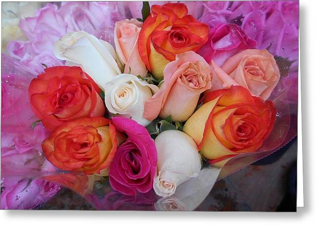 Roze Greeting Cards - Roses for Sale on Third Avenue I Greeting Card by Carolyn Quinn