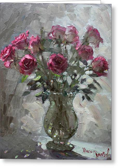 Roses For Viola Greeting Card by Ylli Haruni