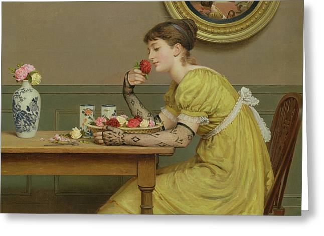 Love Laces Greeting Cards - Roses Greeting Card by George Dunlop Leslie