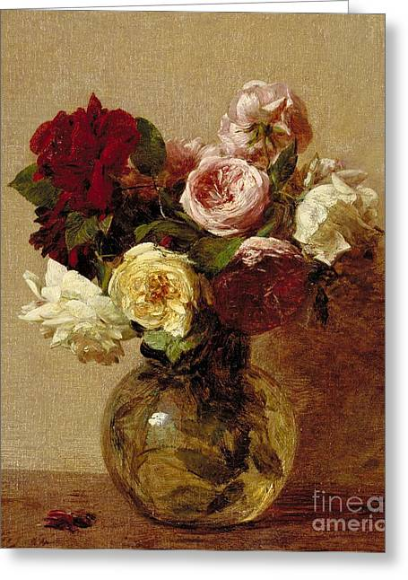 In Bloom Paintings Greeting Cards - Roses Greeting Card by Ignace Henri Jean Fantin-Latour