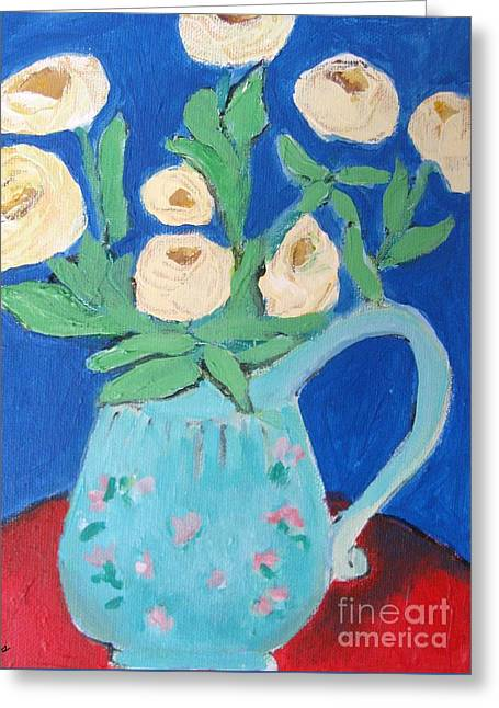 Pitcher Of Roses Greeting Cards - Roses In A Blue Pitcher Greeting Card by Venus