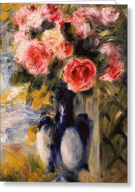 Renoir Greeting Cards - Roses in a Blue Vase Greeting Card by Pierre Auguste Renoir