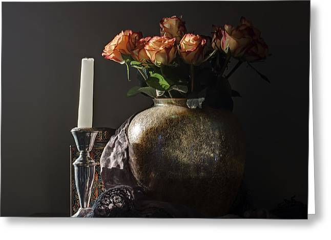 Hardcover Greeting Cards - Roses in a Darkening Room Greeting Card by Terry Rowe