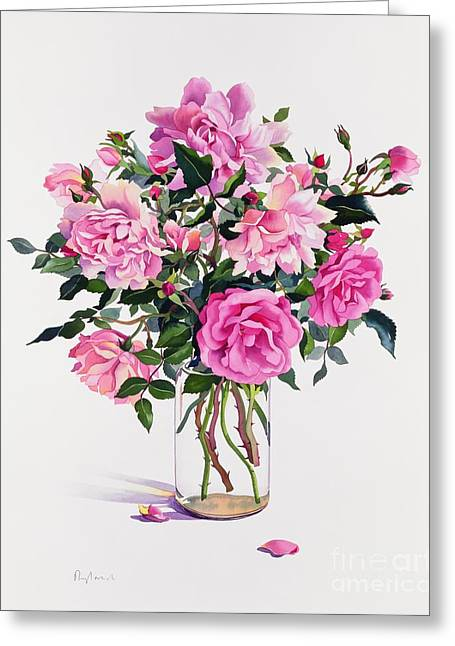 Petals Greeting Cards - Roses in a Glass Jar  Greeting Card by Christopher Ryland