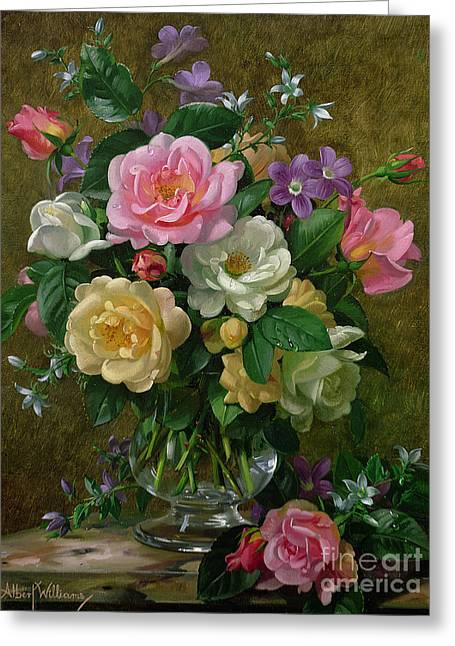 Roses Paintings Greeting Cards - Roses in a glass vase Greeting Card by Albert Williams