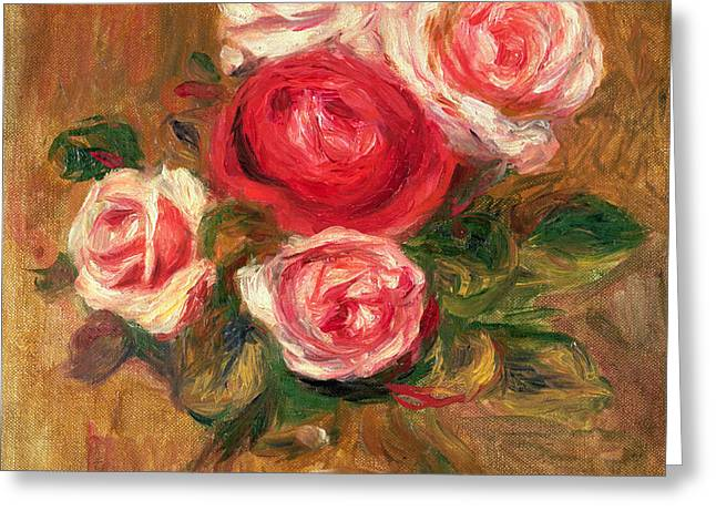 Blossom Greeting Cards - Roses in a Pot Greeting Card by Pierre Auguste Renoir