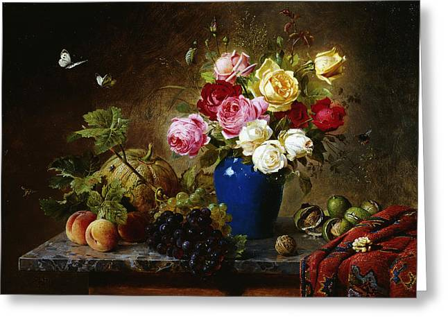 Recently Sold -  - Ledge Greeting Cards - Roses in a Vase Peaches Nuts and a Melon on a Marbled Ledge Greeting Card by Olaf August Hermansen
