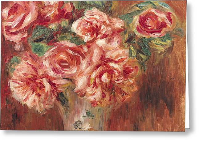 Renoir Greeting Cards - Roses in a Vase Greeting Card by Pierre Auguste Renoir