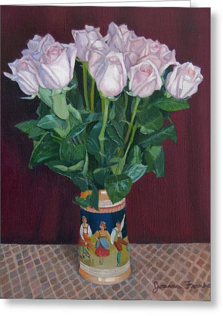 Checked Tablecloths Drawings Greeting Cards - Roses in Beer Stein Greeting Card by Joanna Franke