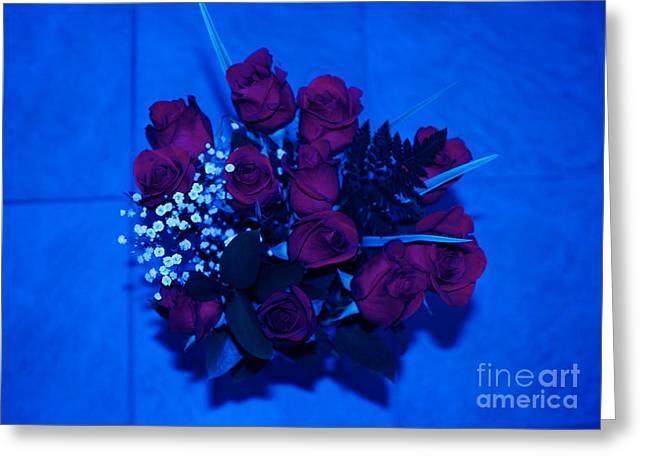 Nice Greeting Cards - Roses in Blue Greeting Card by Oksana Semenchenko