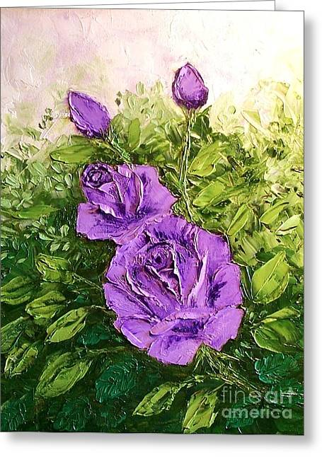 Roses In Lavender Greeting Card by Peggy Miller