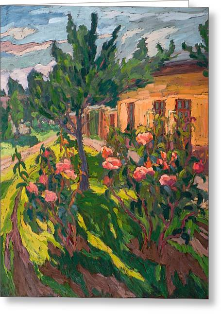 Roses Greeting Cards - Roses In My Forecourt, 2012 Oil On Board Greeting Card by Marta Martonfi-Benke
