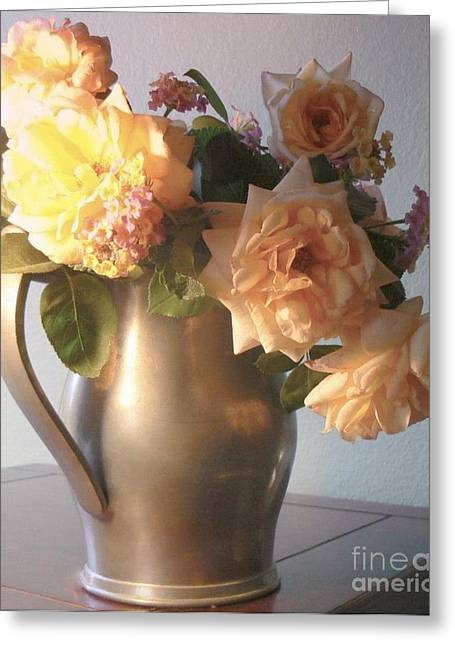 Old Pitcher Greeting Cards - Roses in Pewter Vase Greeting Card by Diana Besser