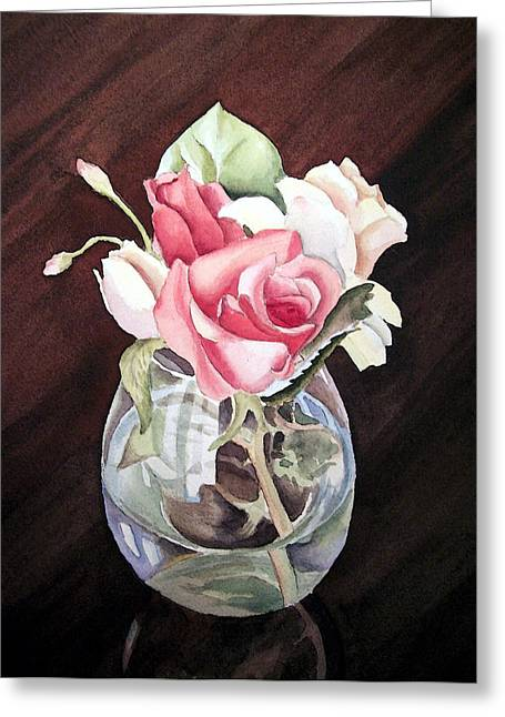 Roses Greeting Cards - Roses in the Glass Vase Greeting Card by Irina Sztukowski
