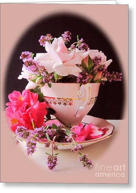 Pinks And Purple Petals Digital Art Greeting Cards - Roses In Thyme Teacup Vignette Greeting Card by Margaret Newcomb