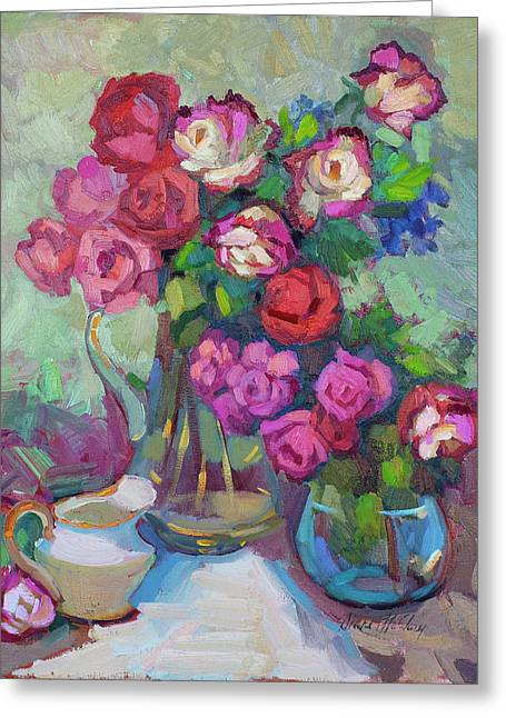 Pitcher Greeting Cards - Roses In Two Vases Greeting Card by Diane McClary