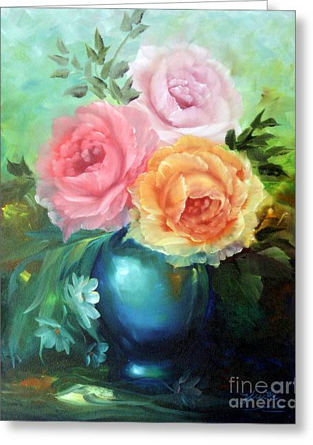 Shower Curtain Greeting Cards - Roses in Vase Greeting Card by  ILONA ANITA TIGGES - GOETZE  ART and Photography