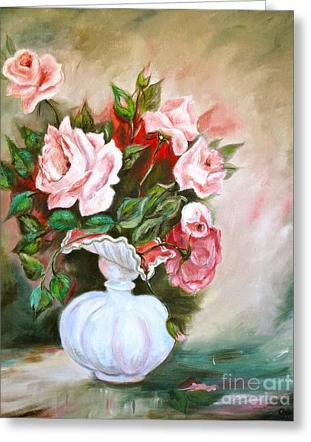 Roses In Vase Greeting Card by Virginia Ann Hemingson