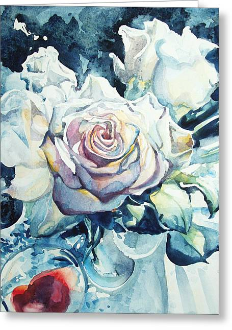 Kelly Johnson Greeting Cards - Roses in Winter Morning Light Greeting Card by Kelly Johnson