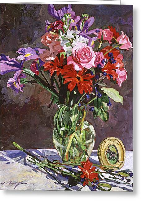 Table-cloth Greeting Cards - Roses Irises And Gerbras Greeting Card by David Lloyd Glover