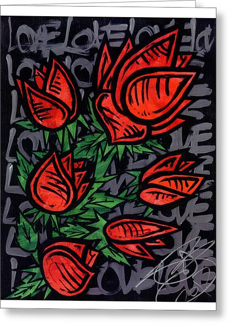 Treatment Mixed Media Greeting Cards - Roses  Greeting Card by Josh Brown