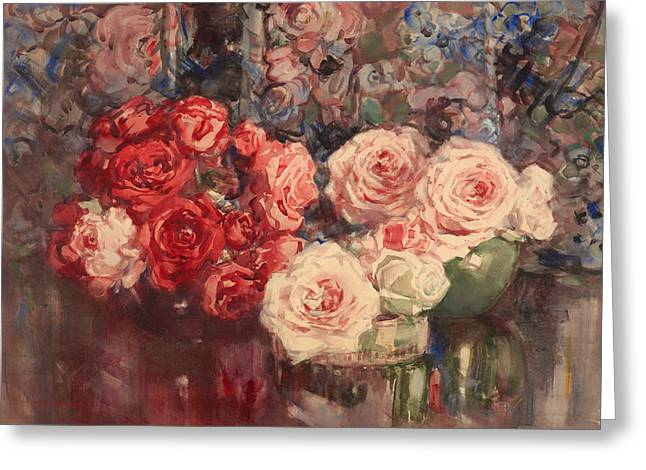 Interior Still Life Paintings Greeting Cards - Roses Greeting Card by Margaret Stoddart