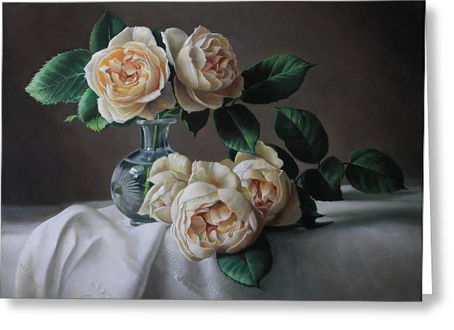 Still Life Greeting Cards - roses Marie Antoinette Greeting Card by Pieter Wagemans