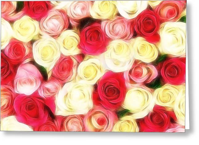 Rose Petals Mixed Media Greeting Cards - Roses Of Love Greeting Card by Georgiana Romanovna